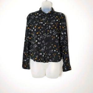 Primark Heart Print Cropped Blouse - US 8